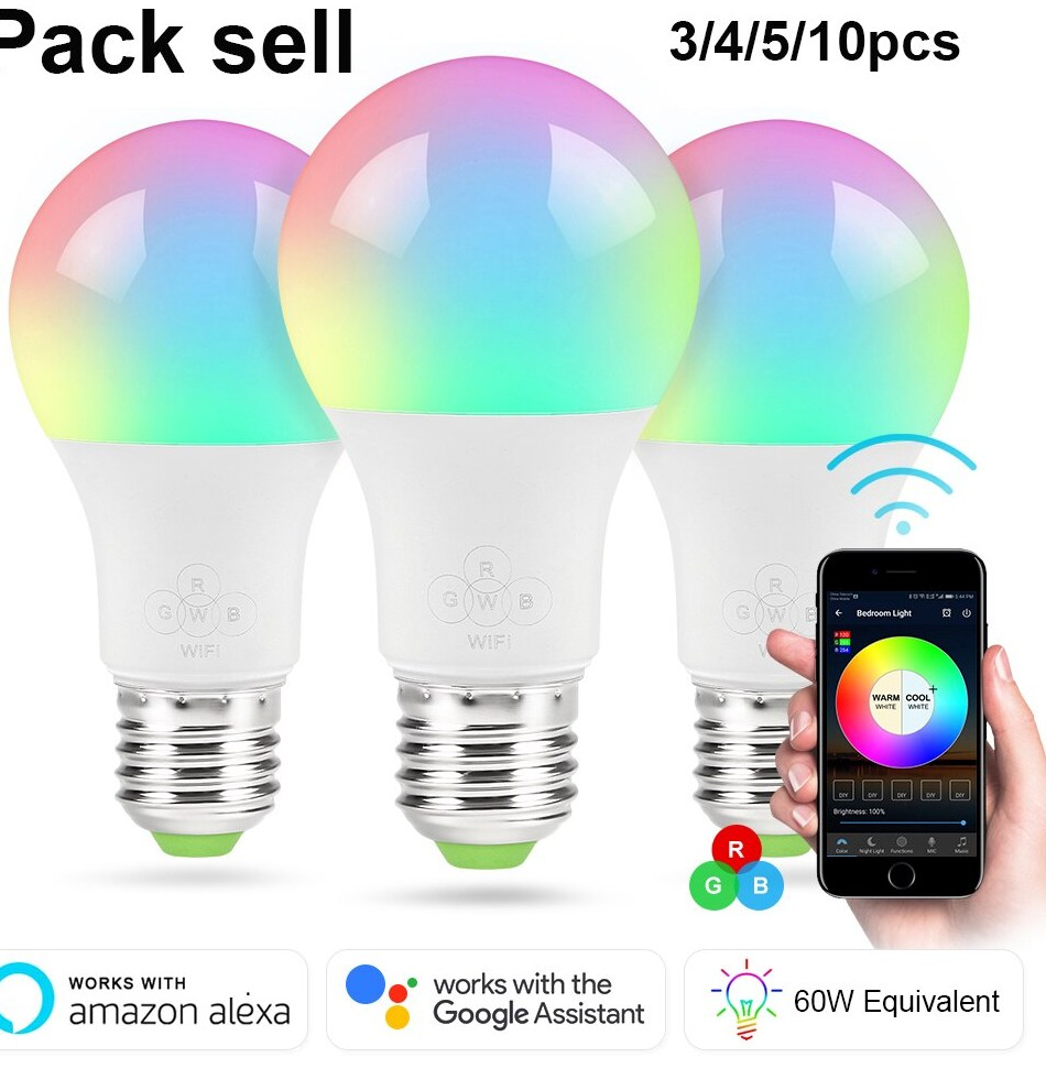 Pack sell RGBW Smart WIFI Led Light Bulb 10 6 5W E27 B22 E14 Smart Home