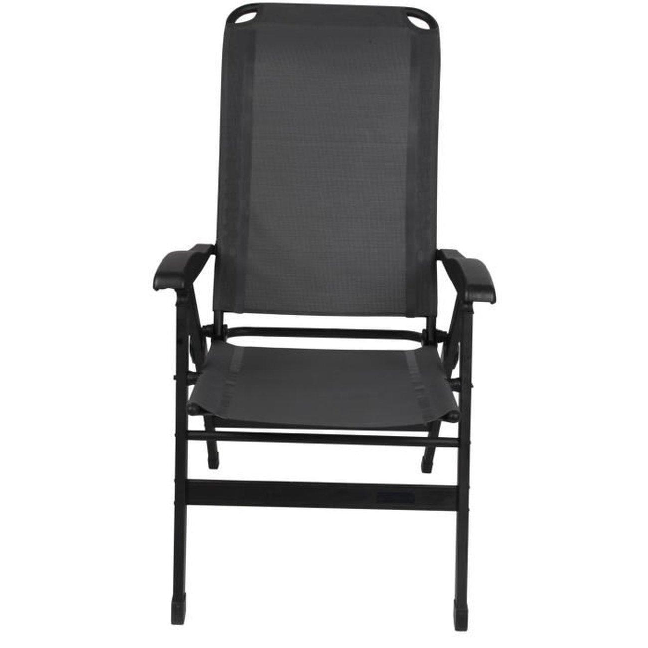 chaise de camping fauteuil de camping tabouret de camping fauteuil confort maxi aluminium gris armature noire 1 v1