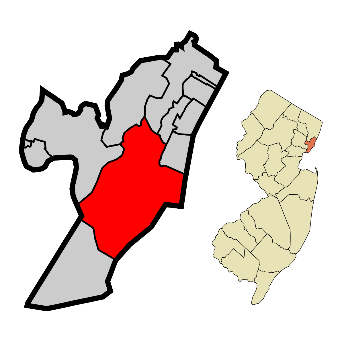 1200px Hudson County New Jersey Incorporated and Unincorporated areas Jersey City Highlightedg