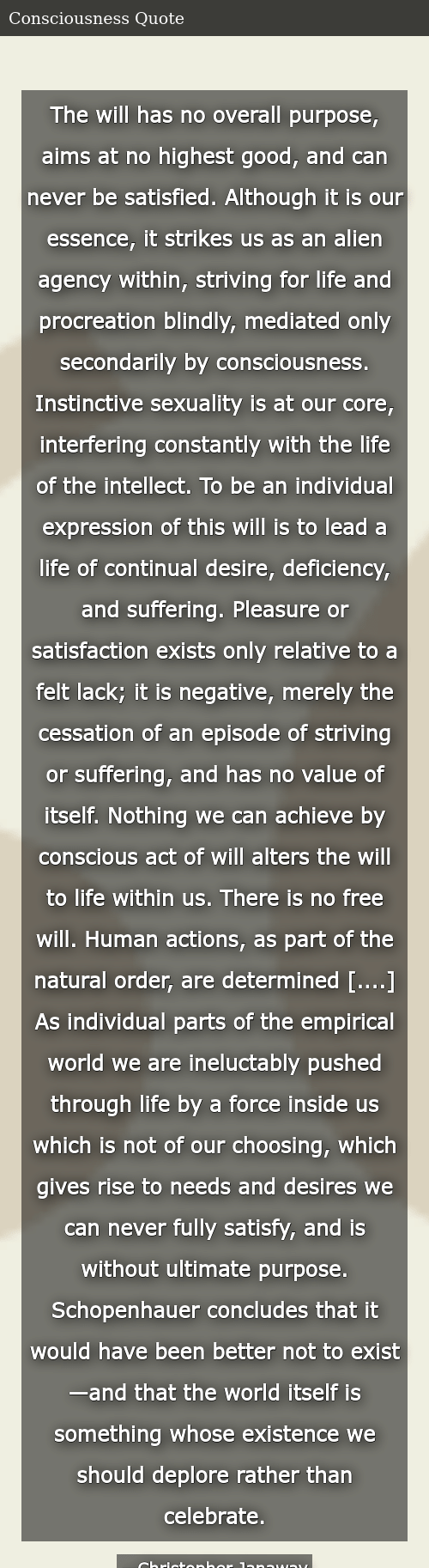 the will has no overall purpose aims at no highest