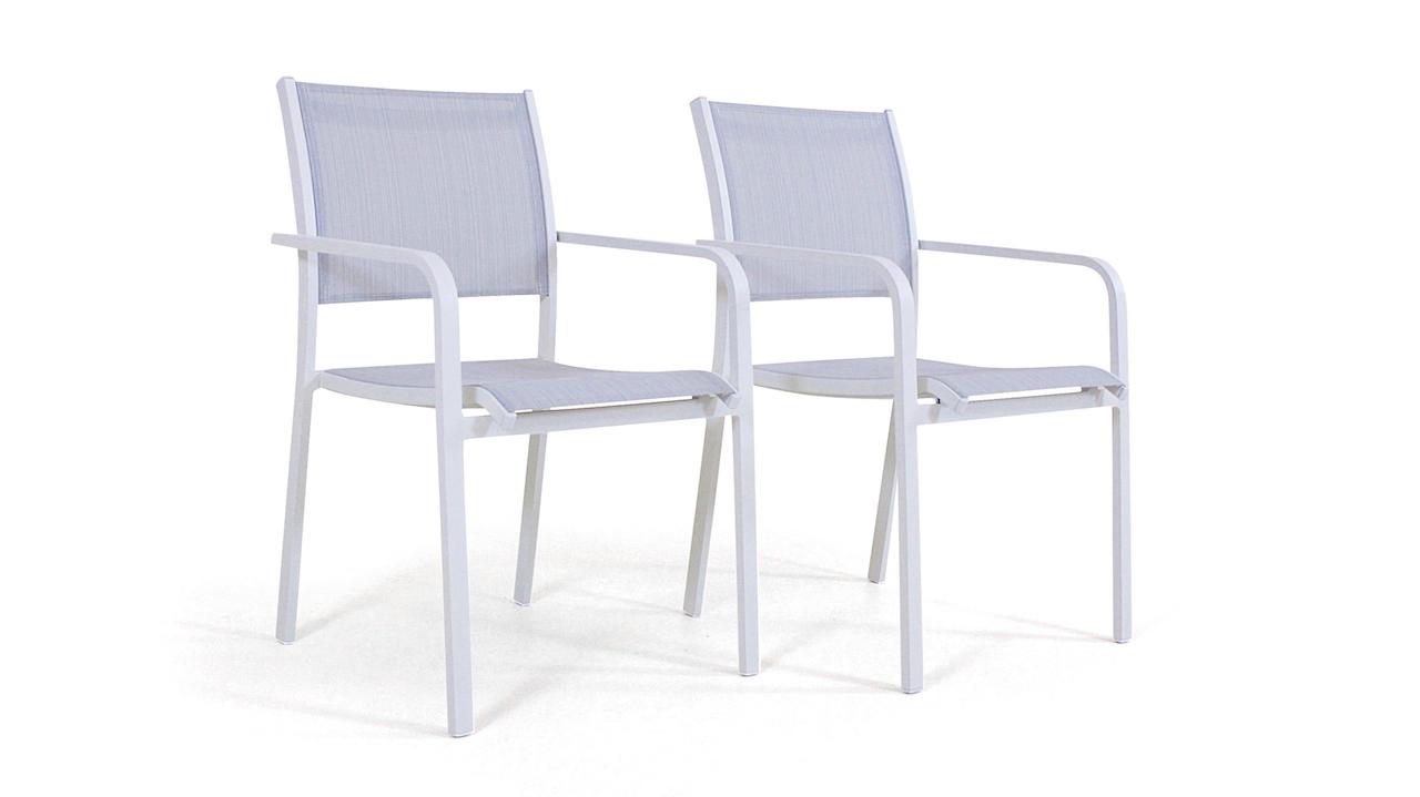 Assise Salon De Jardin Beau Chaise En Alu Tex B 2 Pi¨ces Blanc