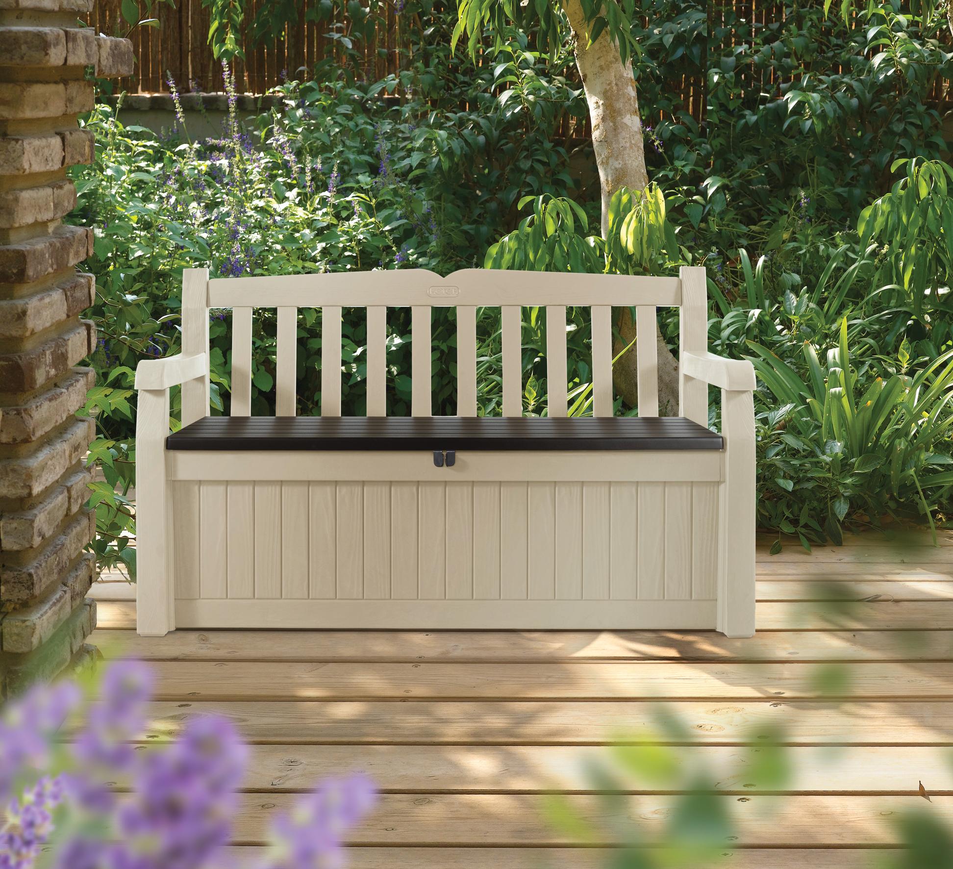 coffre banc de jardin en rsine marron et beigeinteressant avec ori coffre banc en resine beige 265l gardenbench bogota 340