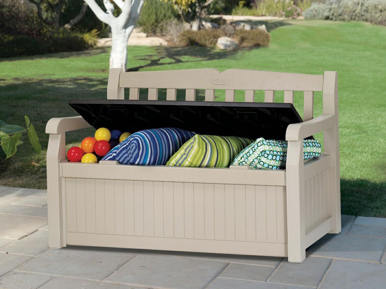 banc de jardin avec coffre rangement lehner versand elegant keter kissenbox sitzbank 2
