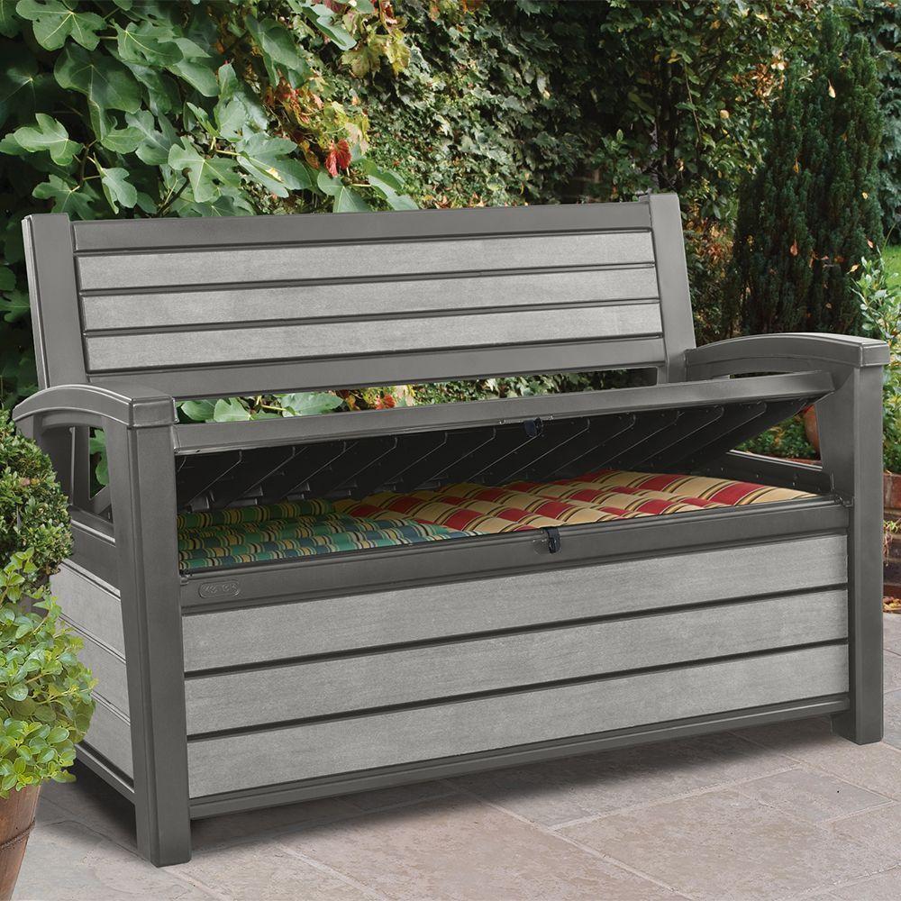 coffre banc jardin coffre banc de jardin en rsine brossium 227l gris colis 131x74x20