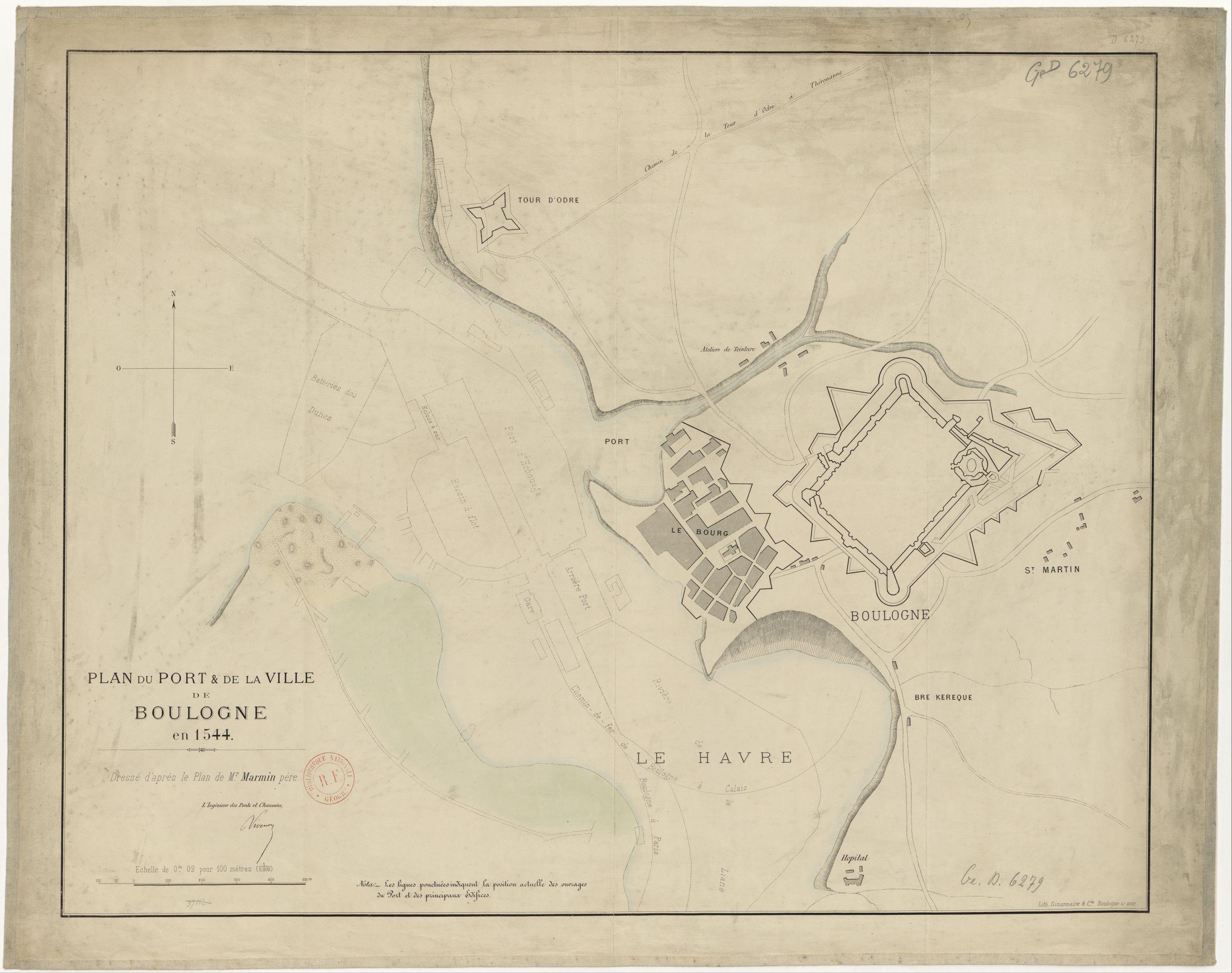 Plan du port de la ville de Boulogne en 1544