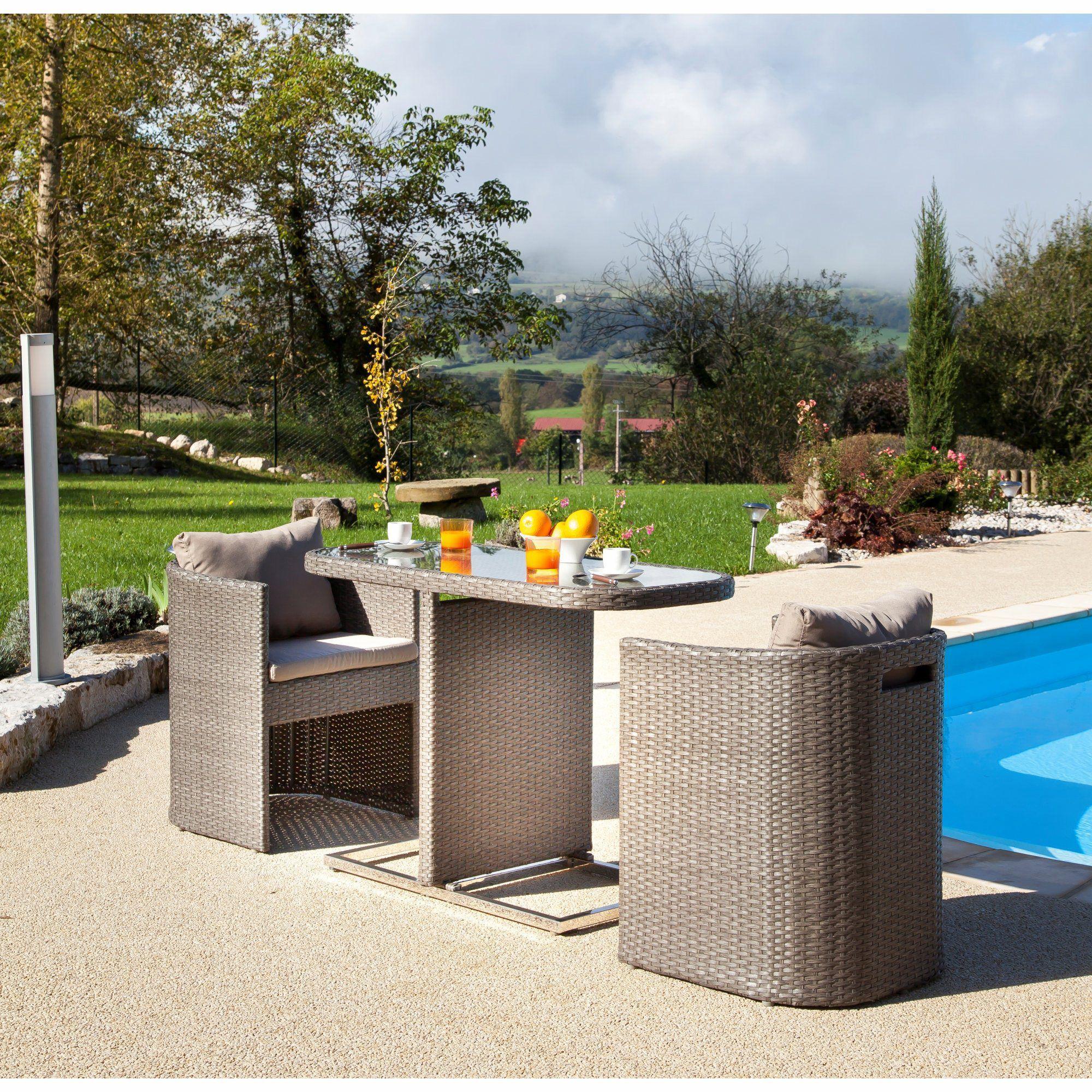 C Discount Table De Jardin Beau Petite Table Pour Balcon Avec Fauteuils Arrondis Gris Bari