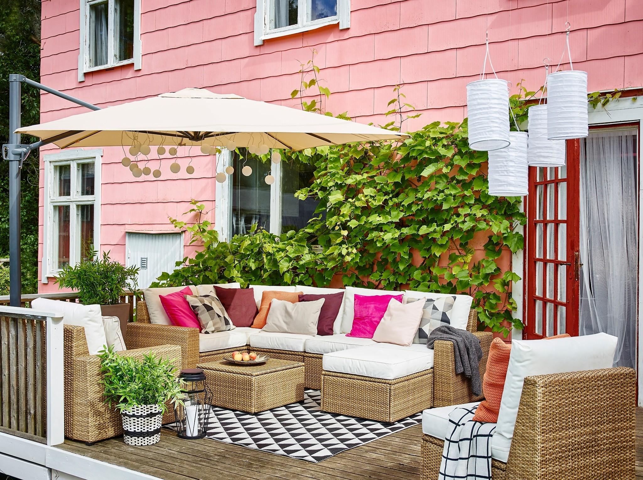 terrasse jardin ikea avec ikea ikea ext c3 a9rieur brun blanc solleron canap c3 a9 d angle fauteuil tabouret s5 et brise vue balcon ikea 14 2048x1530px brise vue balcon ikea