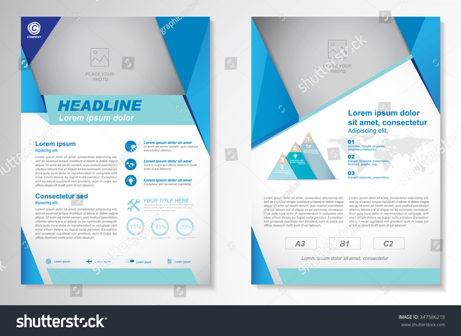 stock vector vector brochure flyer design layout template size a front page and back page infographics easy