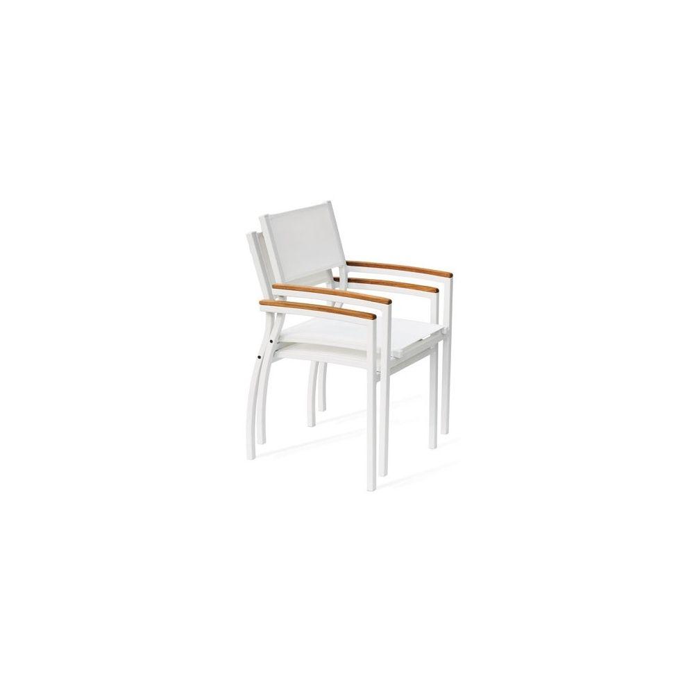 fauteuil aluminium textilene blanc accoudoirs imitation bois tempo