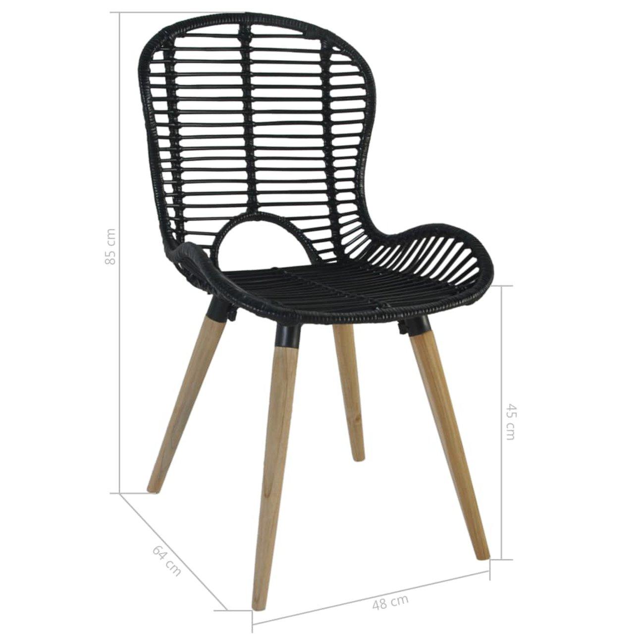 vidaxl chaises a diner dexterieur 6 pcs rotin 48 x 64 x 85 cm noir 8 v1