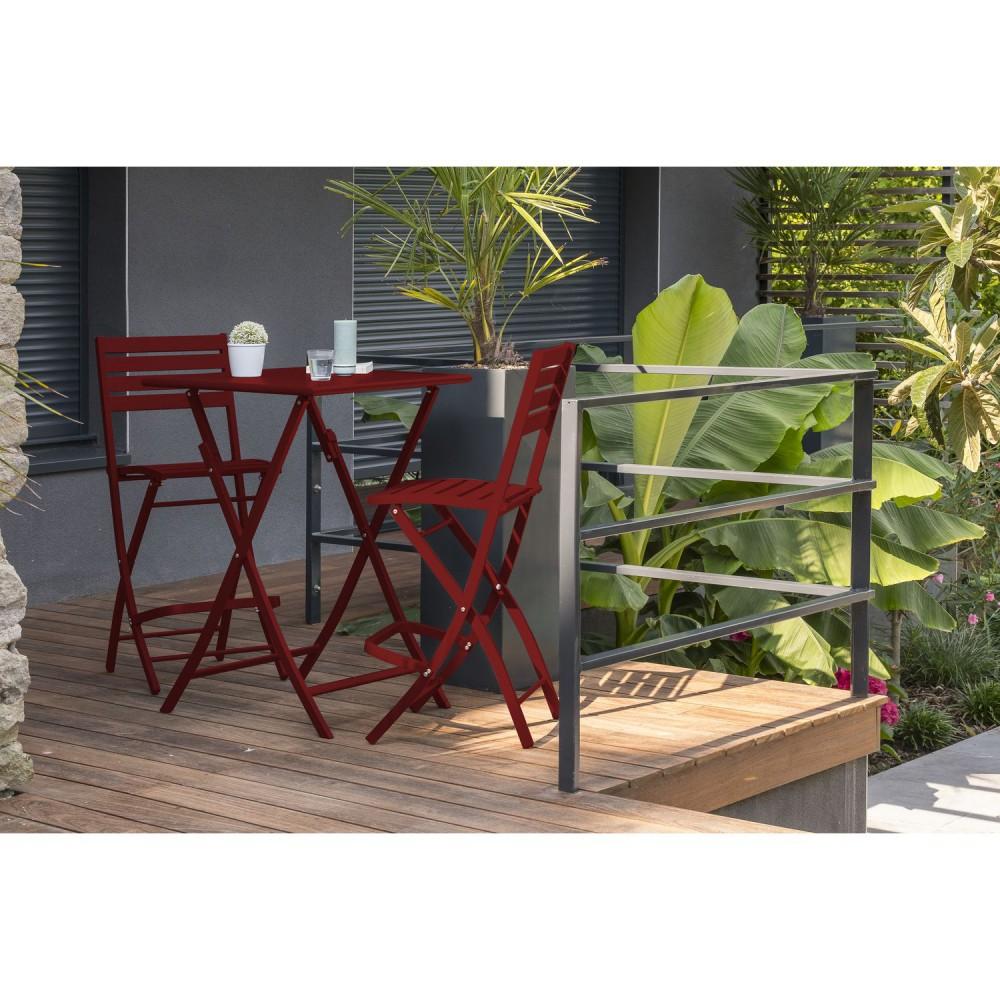 chaise haute pliante de jardin marius 46 x h 110 cm rouge carmin