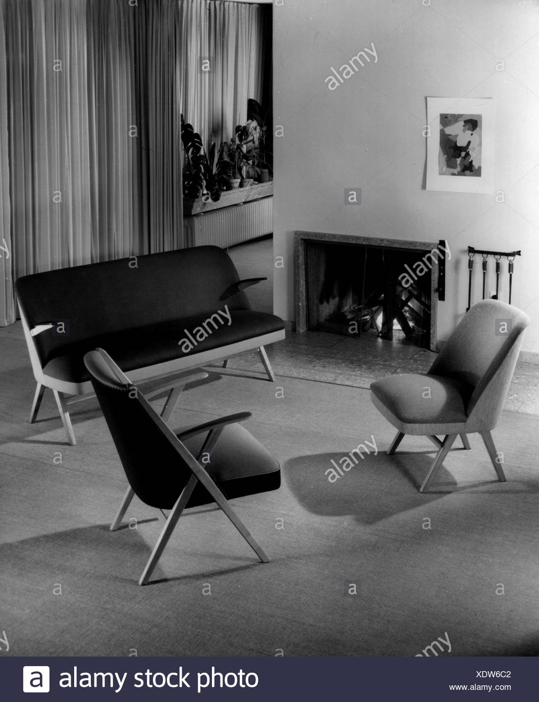 furnishings seats with fireplace 1950s chairs chair sofa settee sofas settees couch chaise chaise longue couches chaises chaise longues bench benches cool coolness chill functional open fireplace with fire living room sitting room livingroom living rooms sitting rooms livingrooms lifestyle living live dwelling flat seat seats seating furniture furniture furnishing interior furnishings salon parlor parlour parlors parlours sitting room sitting rooms room rooms 1950s 20th century historic historical additional rights clearences na XDW6C2