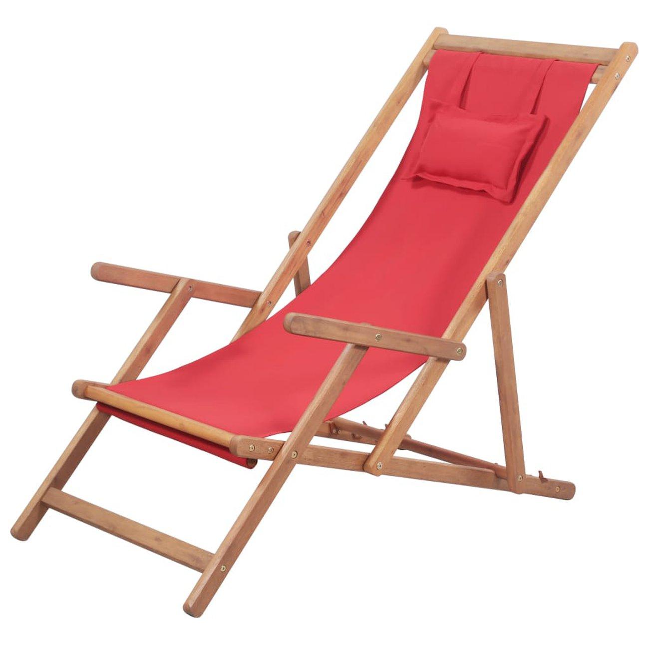 vidaxl chaise pliable de plage tissu et cadre en bois rouge 1 v2
