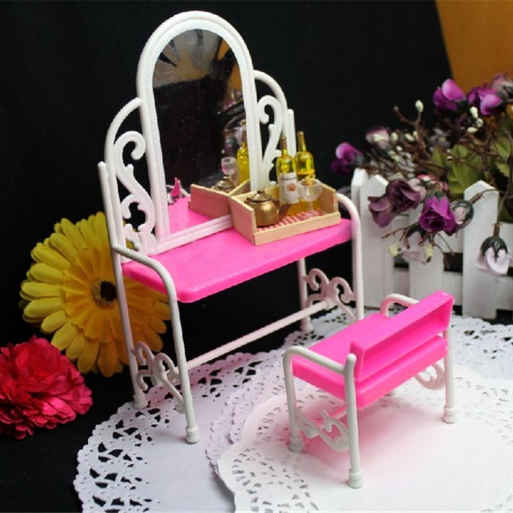 Hot OCDAY 2 pcs ensemble En Plastique Rose Dressing Table et Chaise Fille Poup es Accessoires
