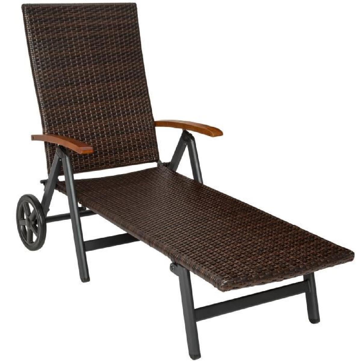 chaise longue bain de soleil transat de jardin pliante r glable en aluminium et r sine tress e