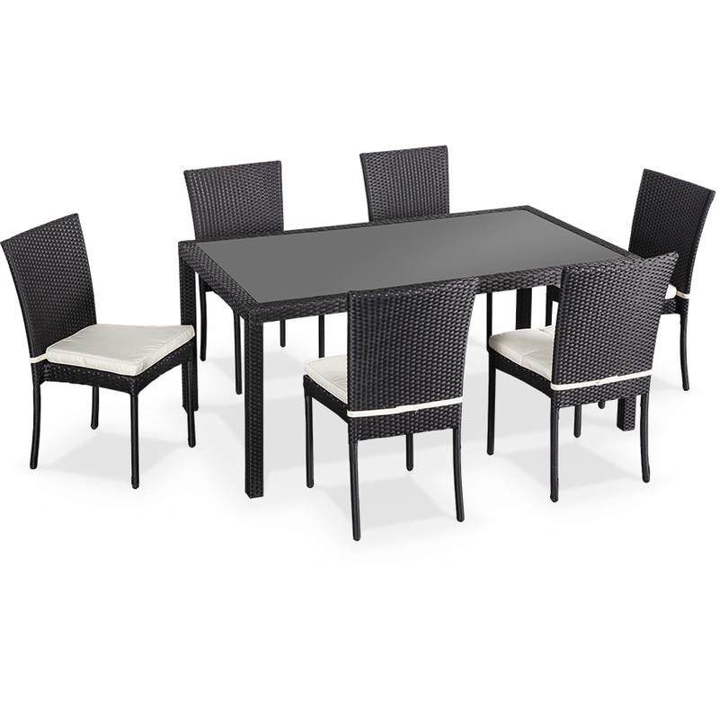 salon de jardin en r sine tress e chaises noir table d