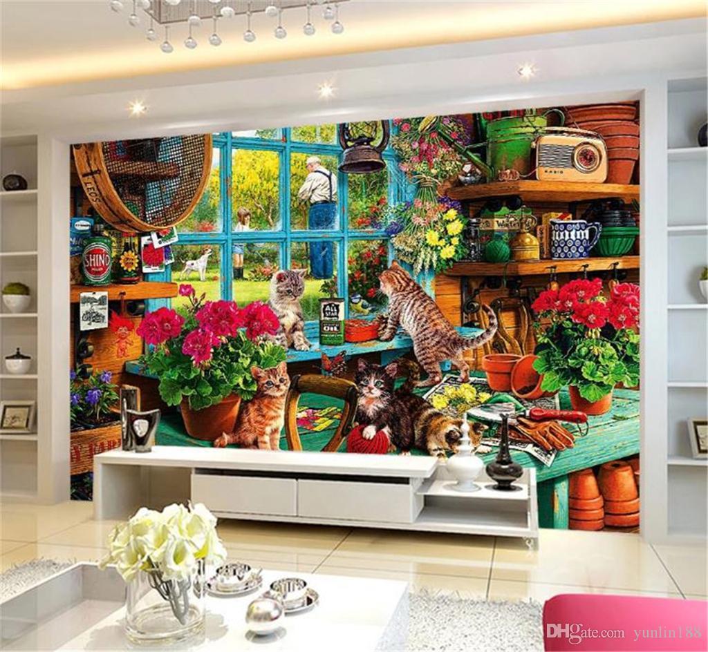 papier peint murs 3d grenier de jardin mignon