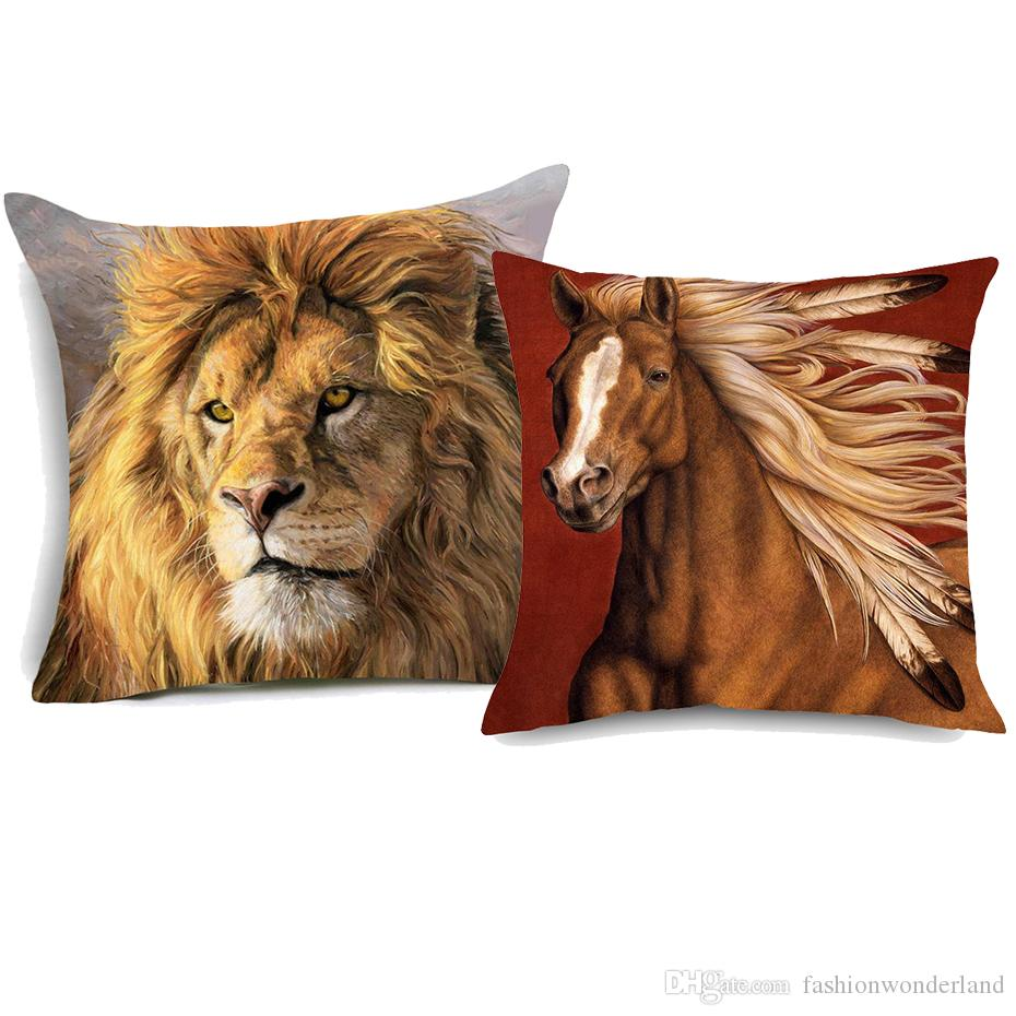 Coussin Salon Jardin Élégant Acheter Chevaux De Guerre In Ns Coussin Couvre Sauvage Animal Cheval Lion Art Chambre Décorative En Lin Taie D oreiller 45×45 Cm De $3 49 Du