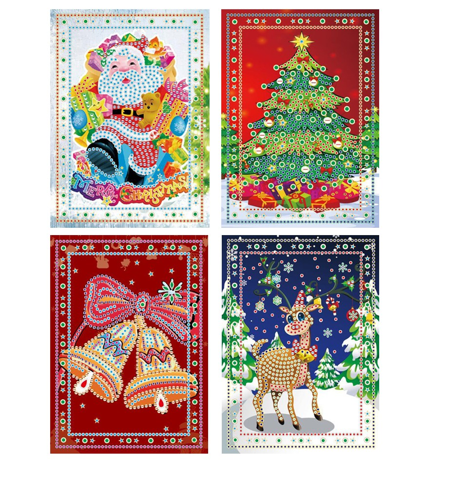 DIY 5D Diamond Painting Christmas Greeting Cards 4 cards one set Christmas card font b 3d