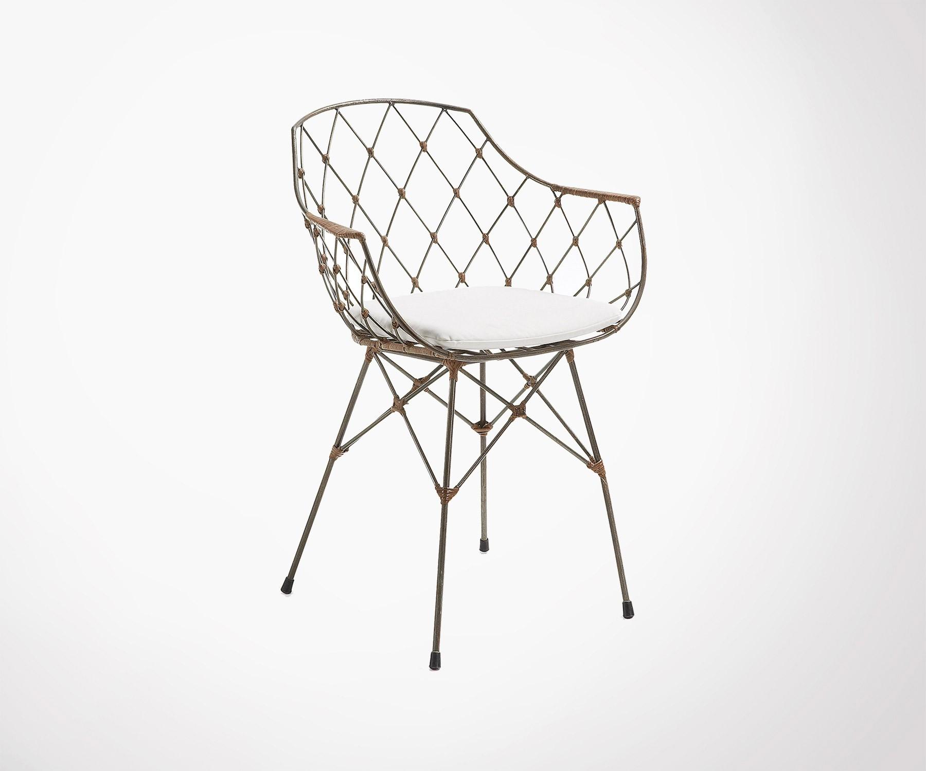 chaise bras metal rotin tissu blanc nergy