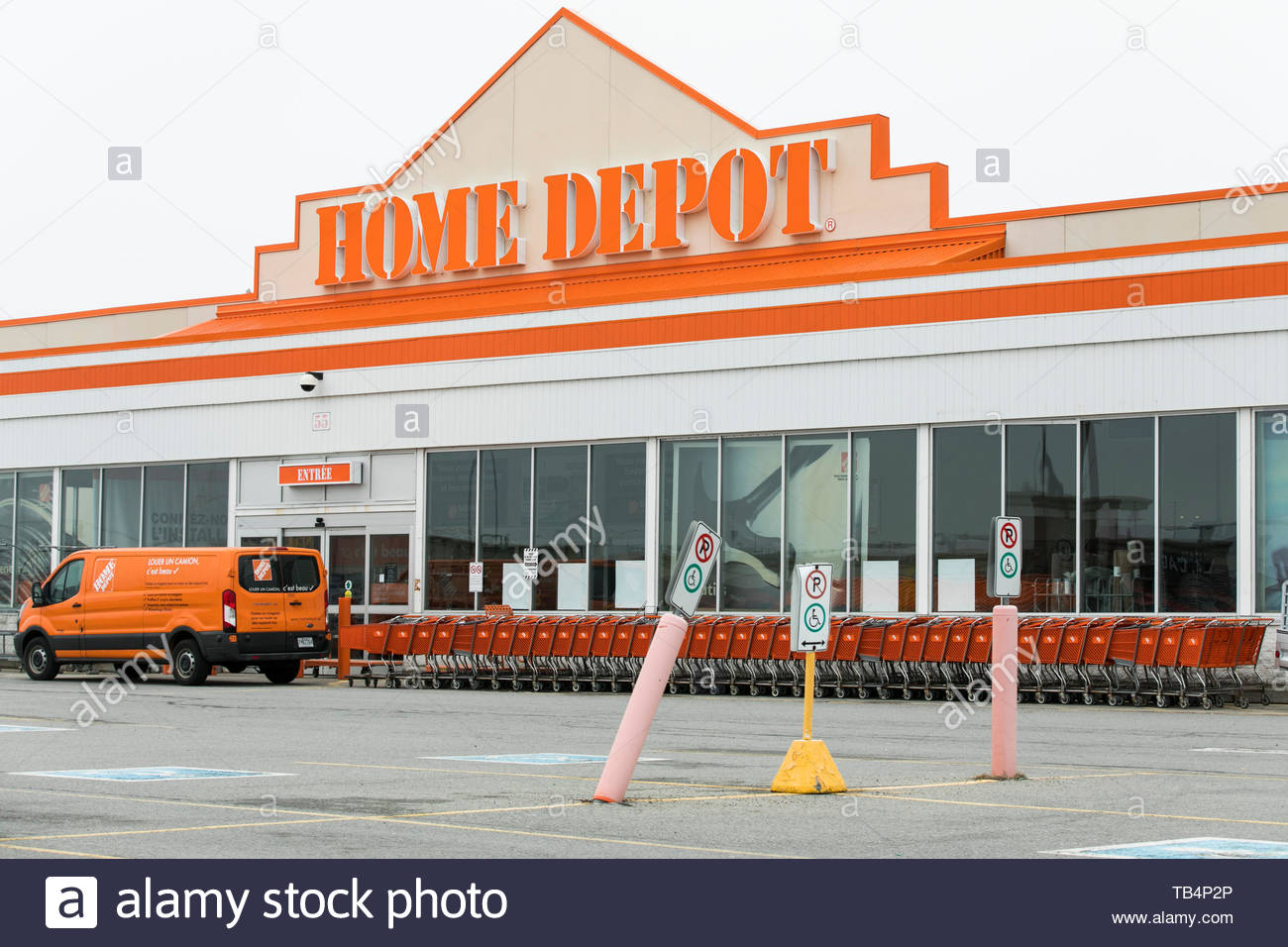 a logo sign outside of a home depot retail store location in vaudreuil dorion quebec canada on april 21 2019 TB4P2P