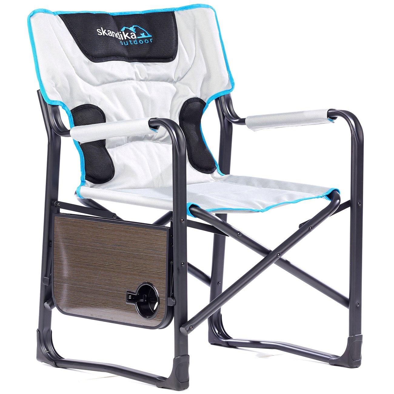 chaise siege de camping deluxe pliable avec tablette max150 kg gris 5 v1