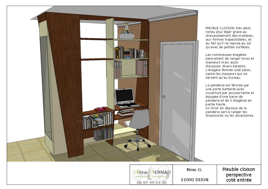 creation dun meuble faisant office de separation entre lentree et le salon et integrant une penderie un coin bureau et une bibliotheque jehy