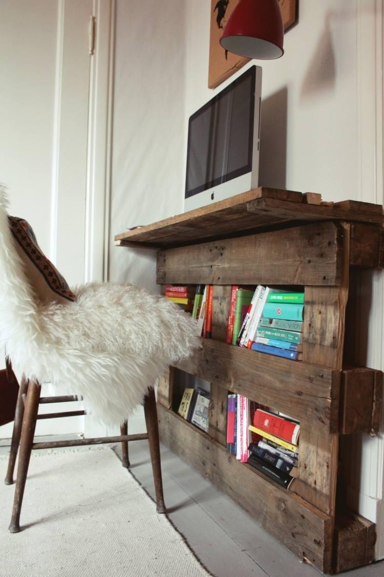 meuble bureau mural rangement palettes bois récupérées
