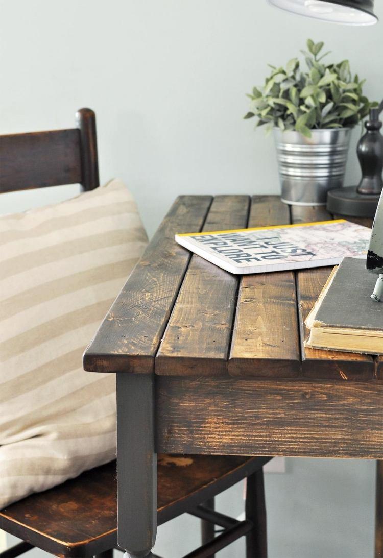 meuble bureau bois cérusé style vintage peinture effet vielli