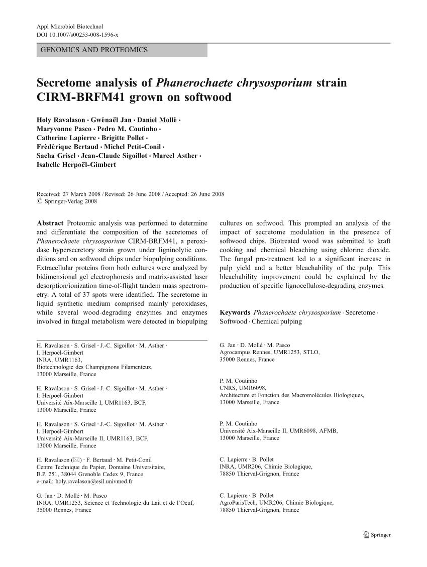 Mobilier De France Rennes Beau Pdf Secretome Analysis Of Phanerochaete Chrysosporium