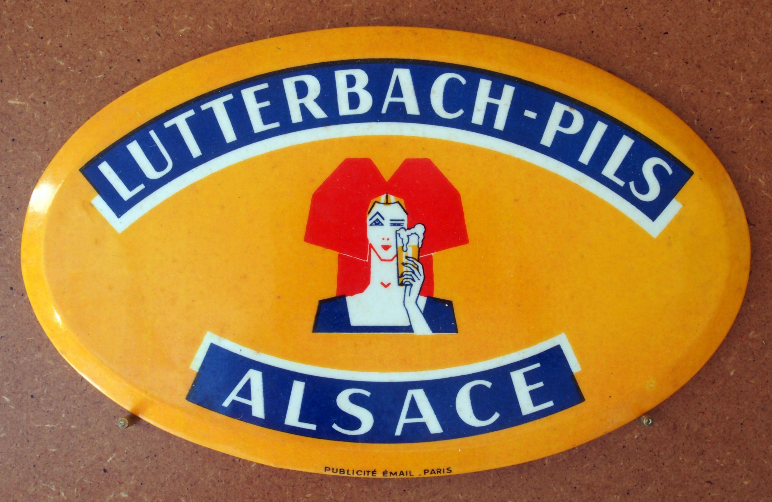 Lutterbach Pils Alsace enamel advertising sign at the Musée Européen de la Bière JPG
