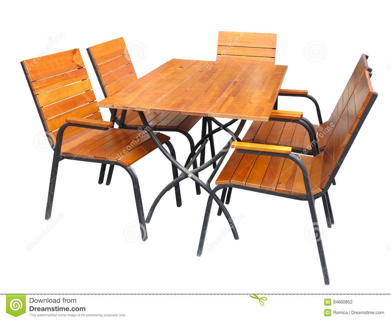 ensemble de table en bois et de chaises de meubles de jardin d isolement sur le petit morceau