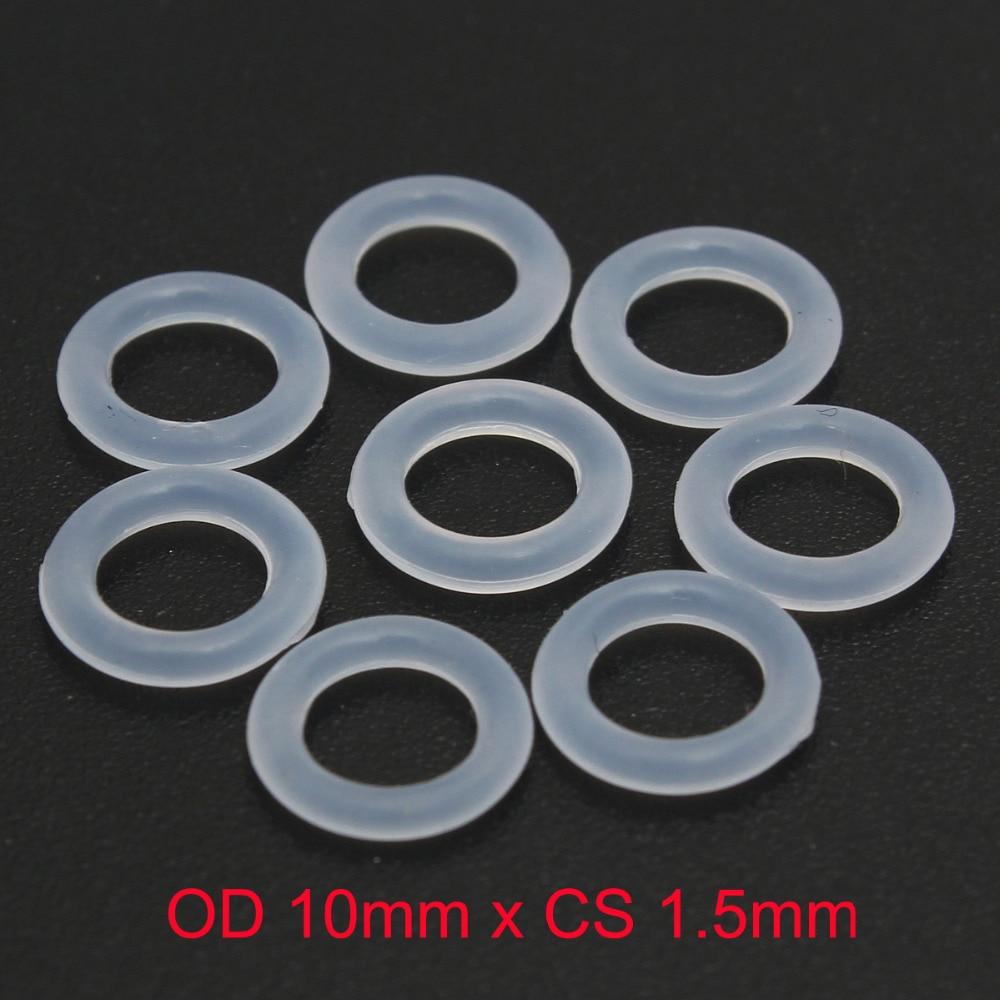 OD 10mm x CS 1 5mm VMQ PVMQ SILICONE Translucent O ring O ring Oring Seal
