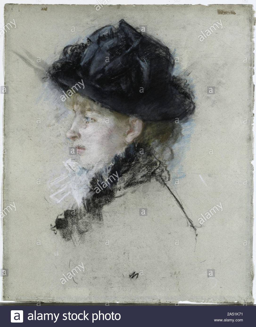 mlle louise riesener 1888 this pastel portrays morisotx2019s friend the daughter of lxe9on riesener a romantic painter and a first cousin of eugxe8ne delacroix here she pays homage to the pastel portraits of her friend and mentor edouard manet who had used the medium with exquisite spontaneity in the years leading up to his in 1883 she restricted herself to the limited palette of manetx2019s pastels using only black and white with touches of pink at the mouth and blue to enliven the eye 2A51K71
