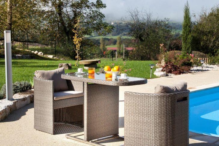 Petit Salon Jardin Génial Petite Table Pour Balcon Avec Fauteuils Arrondis Gris Bari
