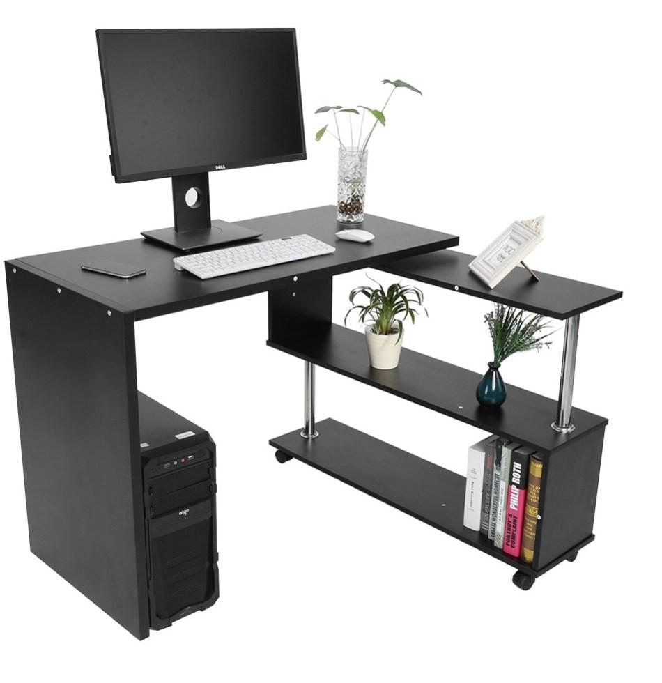 360 Degree Rotatable L Shaped Corner puter font b fice b font Desk With Book Shelves