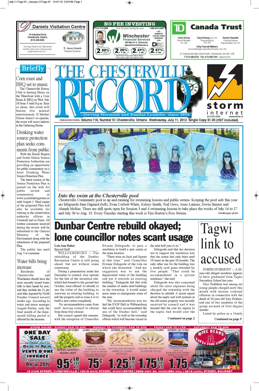 Pub Leclerc Drive Best Of the Chesterville Record July 11 2012 by Robin Morris issuu