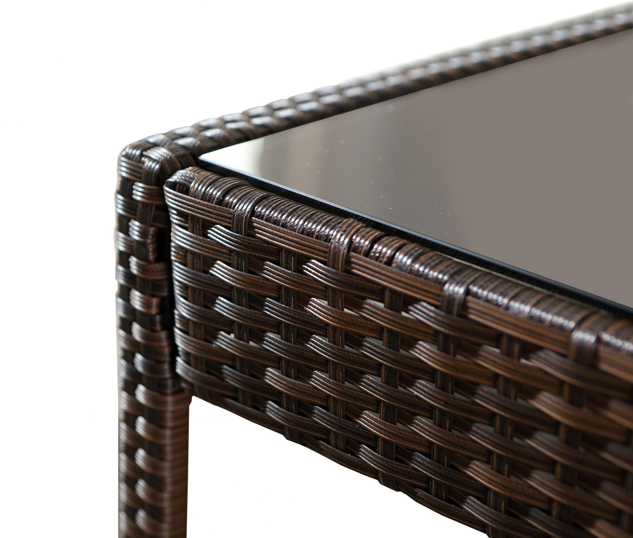 art salon de jardin hamilton en resine tressee chocolat avec 2 fauteuils 1 canape et une table basse 1754