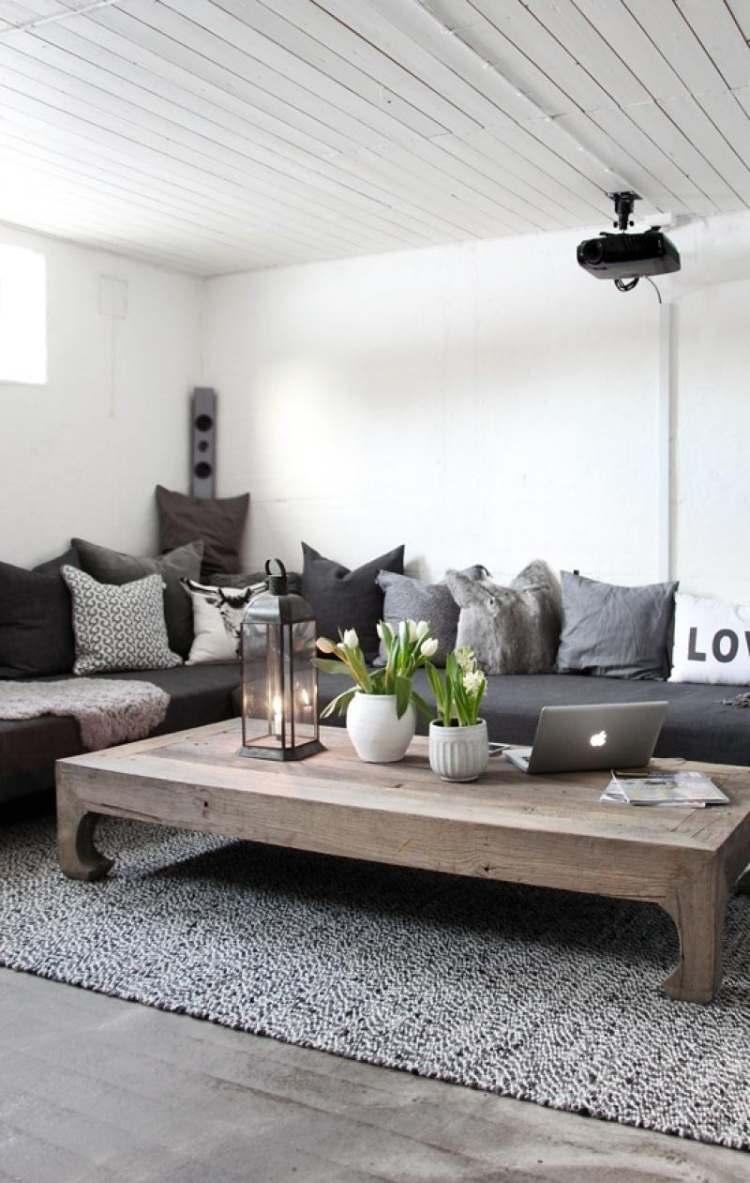 salon contemporain blanc gris table basse rustique bois massif