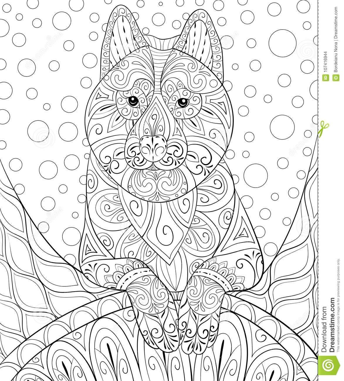 livre de coloriage adulte paginent un chien mignon sur le fond abstrait pour la détente illustration style d art zen