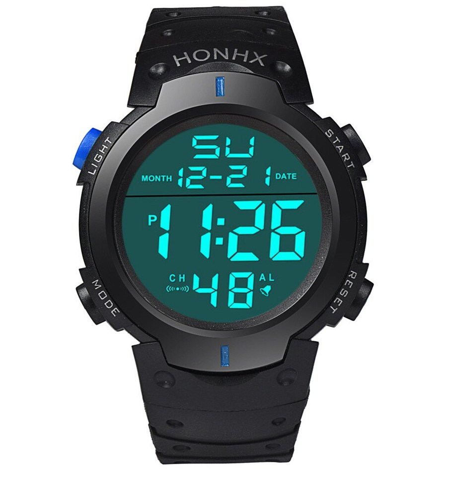 Honhx брендовые роскошные часы Montre Homme 2018 Горячие Водонепроницаемый Для мужчин мальчик ЖК дисплей цифровой секундомер