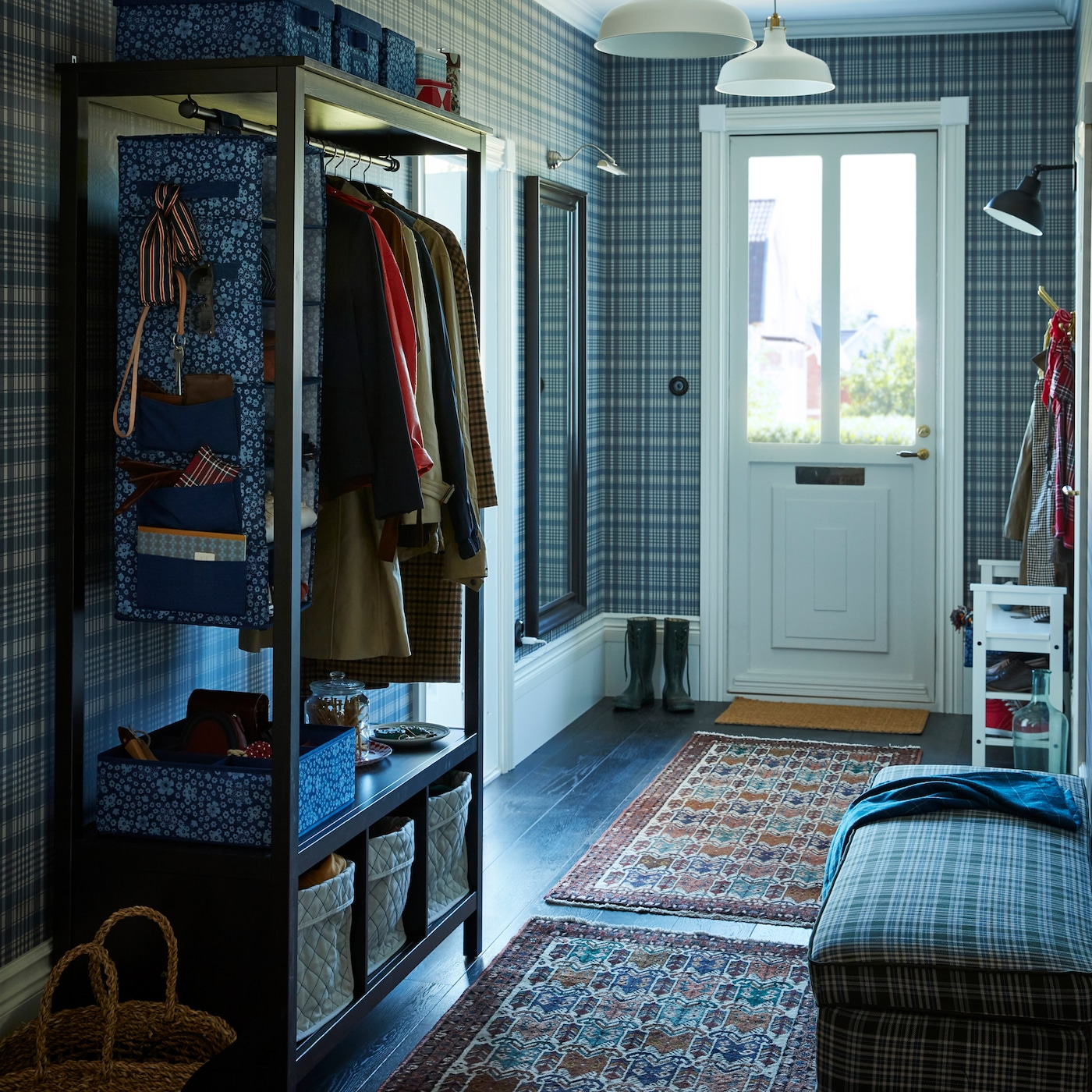 this hallway is all about green toned plaids and cool blue h 1e2a5afa0f5b c6b1cd5df8565c3