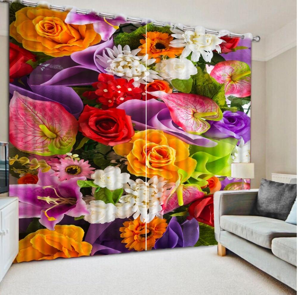 personnalis e rideaux fleurs bambou porte rideaux salon chambre 3D rideaux occultants