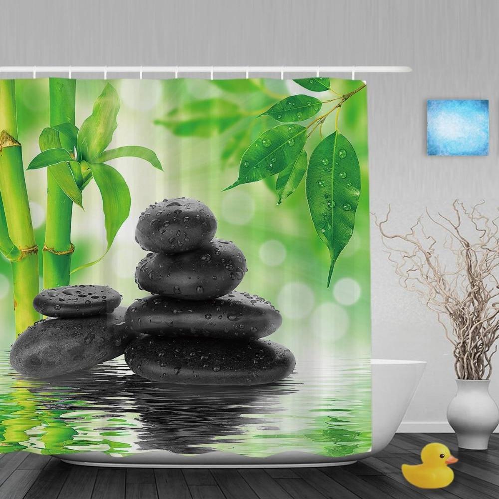 Beau paysage au bord du lac douche Cutains jardin pierre bambou salle de bain rideaux de