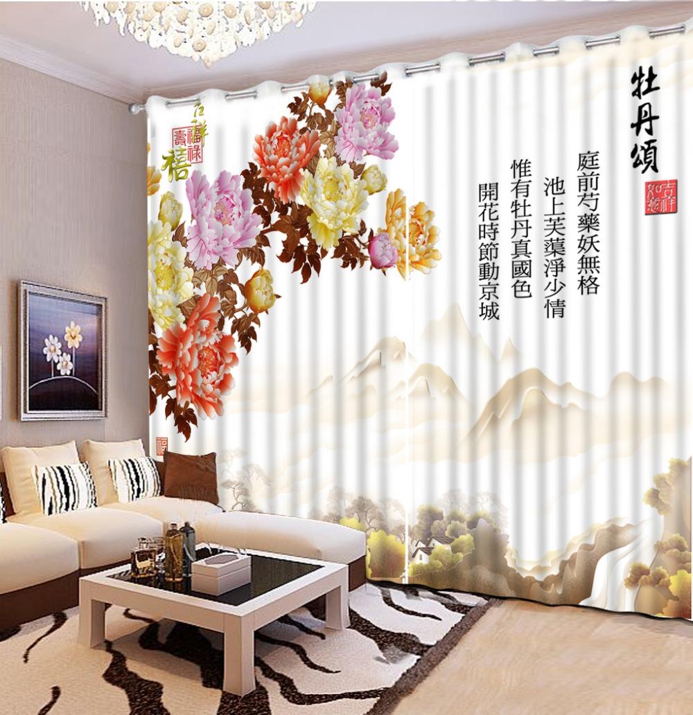 Chinois Style Cuisine Rideaux Styles Maison Et Riches Fleurs Blackout Rideaux Pour Salon 3d St r