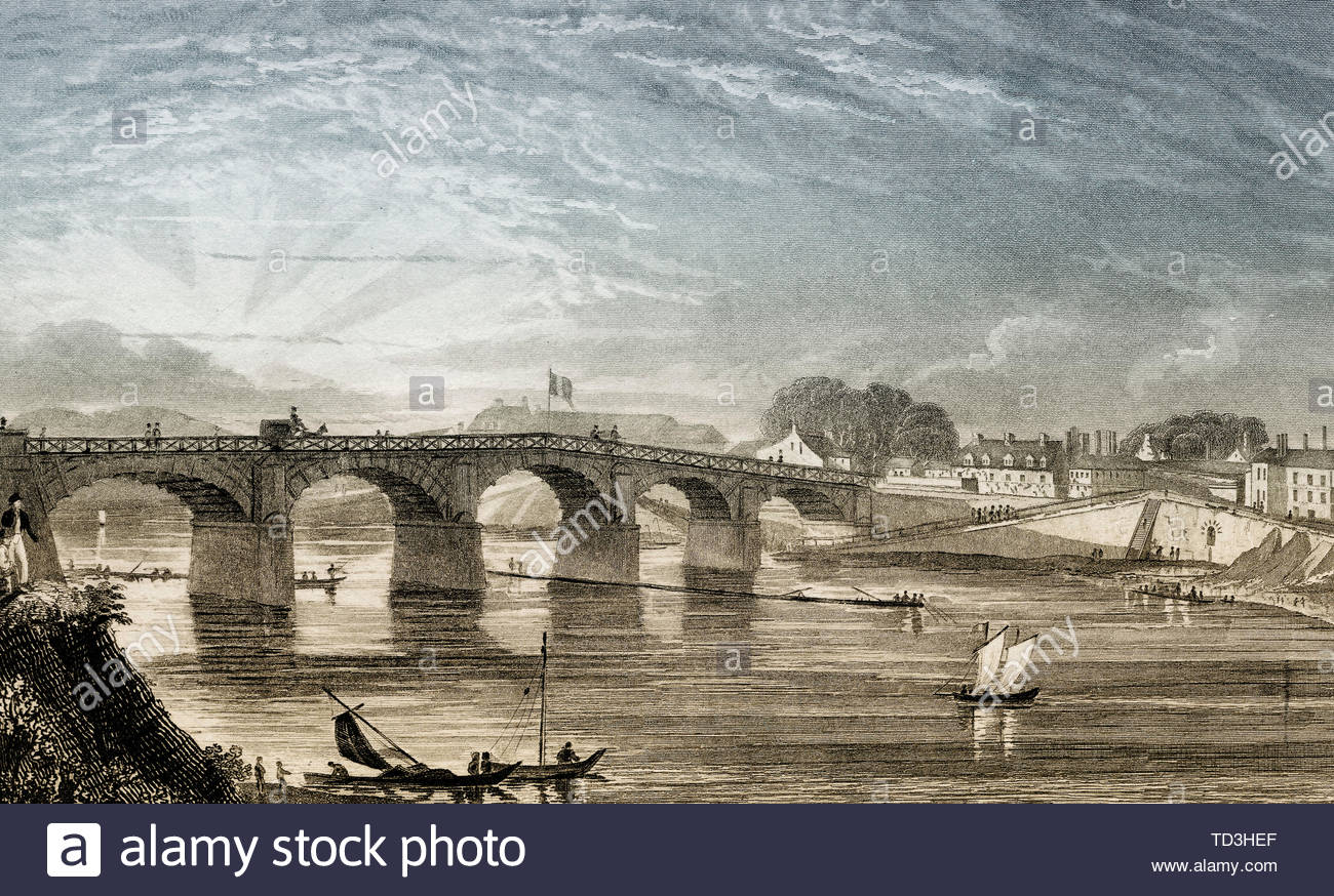 le pont de choisy choisy le roi france antique steel engraved print 1831 TD3HEF