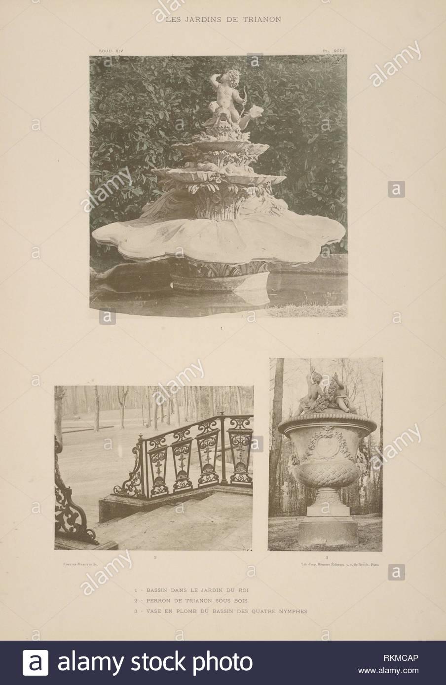 1 bassin dans le jardin du roi 2 perron de trianon sous bois 3 vase en plomb du bassin des quatre nymphes additional title 1 pool in the RKMCAP