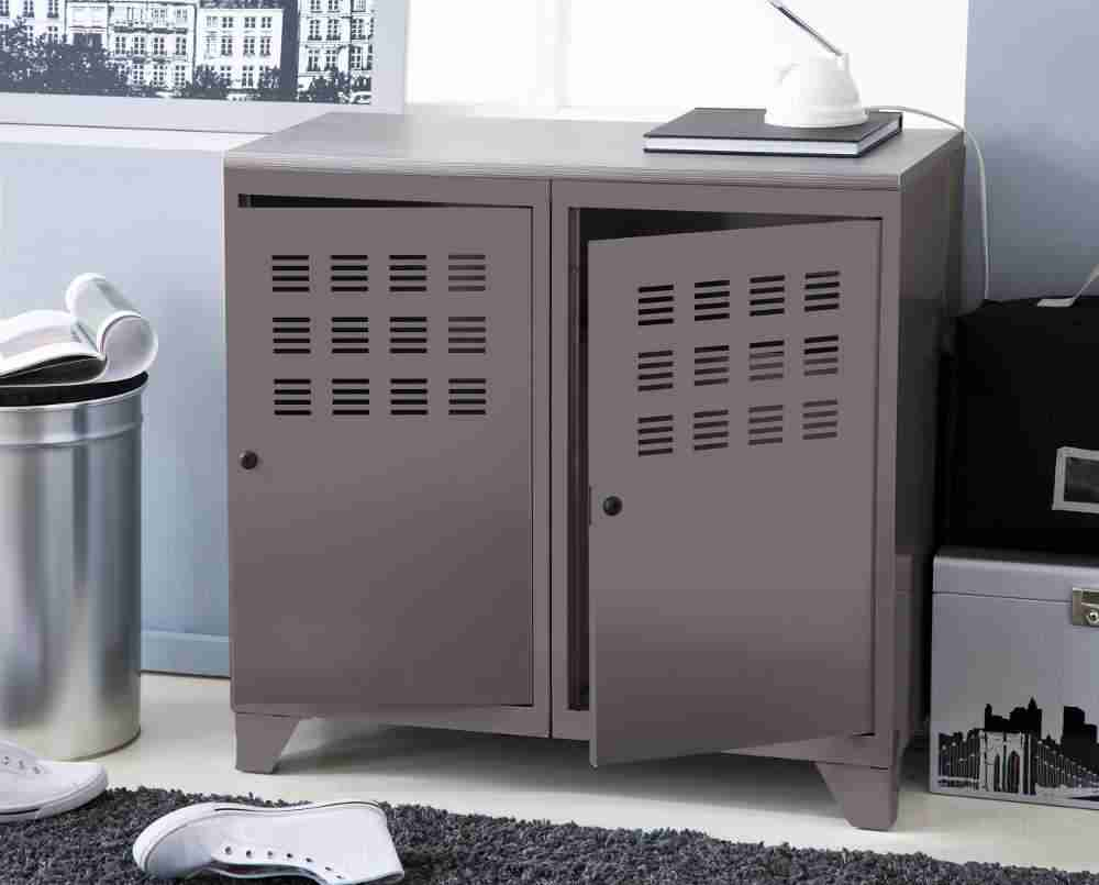 fascinant armoire de rangement m tal 2 portes taupe c3 a9tal 02 phs 0112