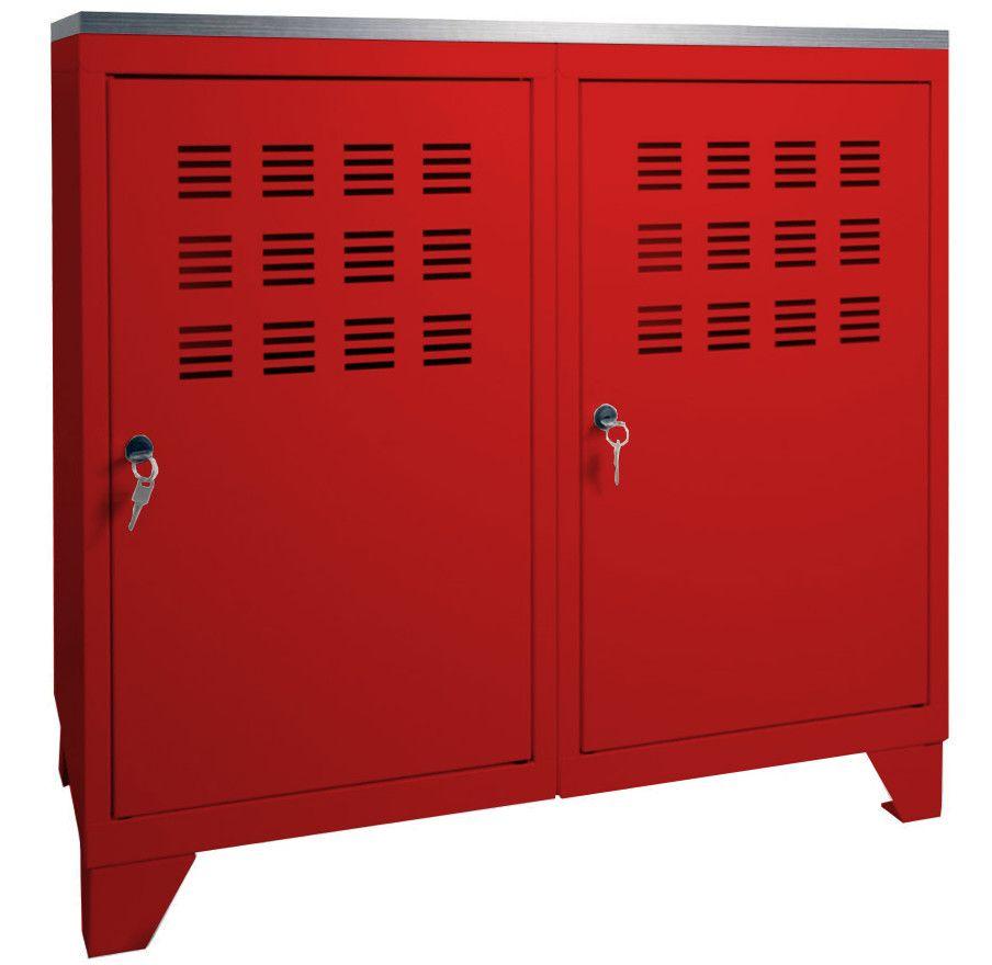 Armoire rangement métal portes Rouge blanc