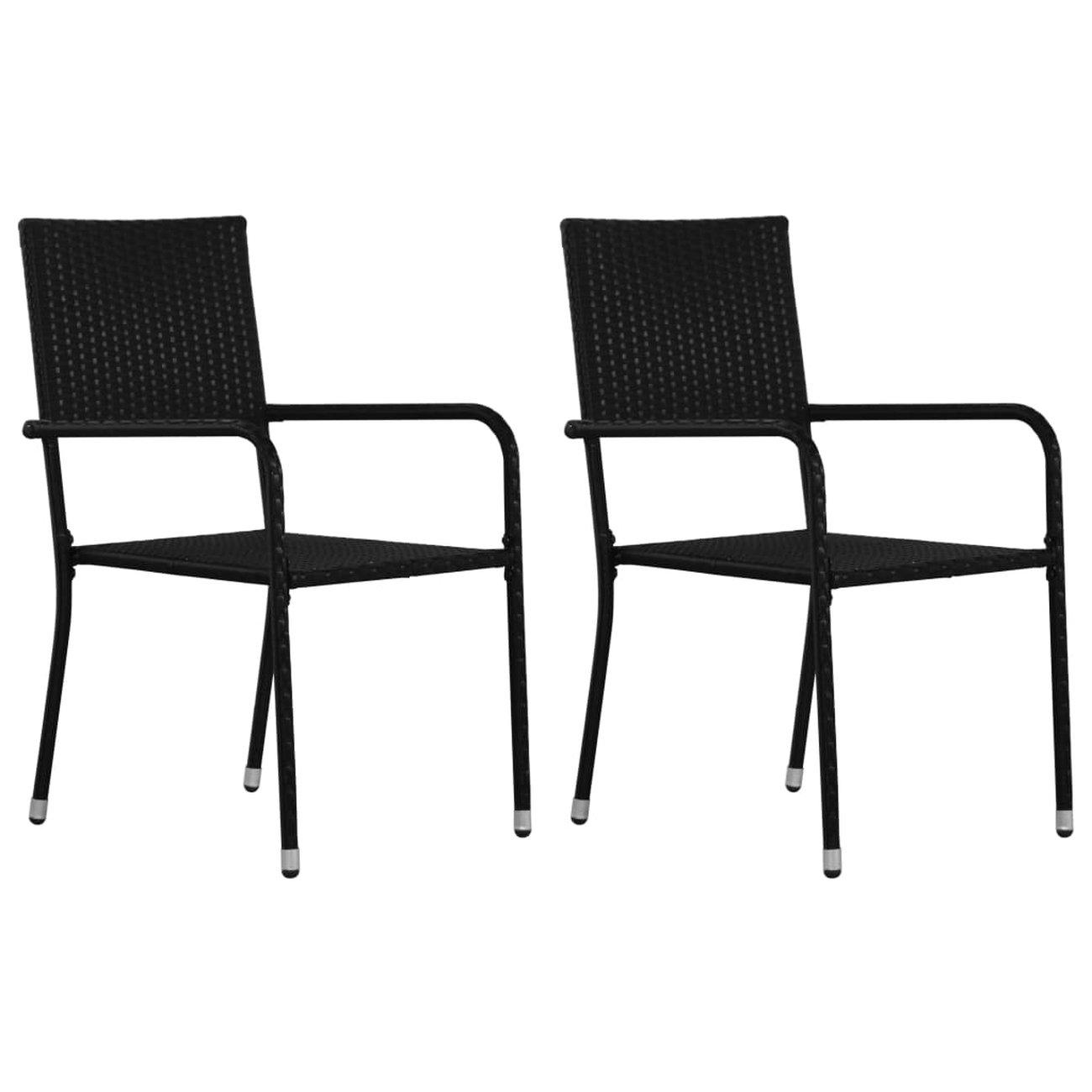 vidaxl chaises de salle a manger dexterieur 2 pcs resine tressee noir 1 v2